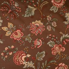 Coffee Jacobean Drapery and Upholstery Fabric by Trend