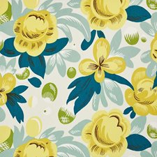 Citron/Peacock Drapery and Upholstery Fabric by Schumacher