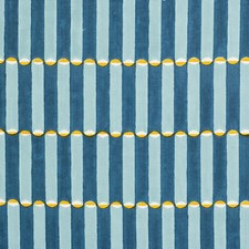 Blue/Turmeric Drapery and Upholstery Fabric by Schumacher
