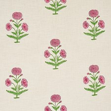 Rose/Grass Drapery and Upholstery Fabric by Schumacher