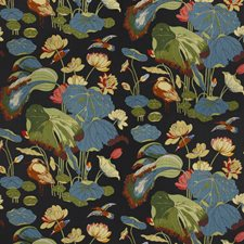 Teal Print Drapery and Upholstery Fabric by Lee Jofa