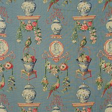 Light Blue/Burgundy/Red Botanical Drapery and Upholstery Fabric by Lee Jofa