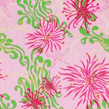 Lilly Pink Print Drapery and Upholstery Fabric by Lee Jofa