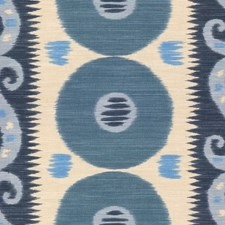 Cadet/Indigo Ikat Drapery and Upholstery Fabric by Lee Jofa