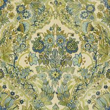 Blue/Green Damask Drapery and Upholstery Fabric by Lee Jofa
