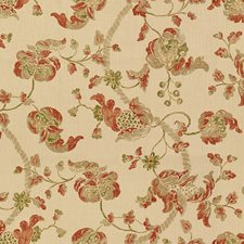 Brick/Olive Jacobeans Drapery and Upholstery Fabric by Lee Jofa