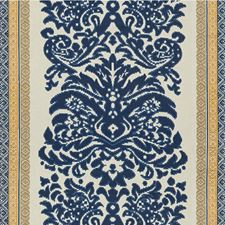 Navy/Gold Damask Drapery and Upholstery Fabric by Lee Jofa