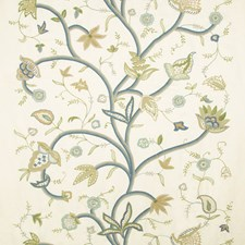 Cream/Lagoon Jacobeans Drapery and Upholstery Fabric by Lee Jofa