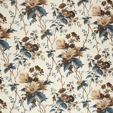 Blu/Brow/Whi Botanical Drapery and Upholstery Fabric by Lee Jofa