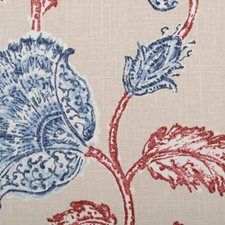 Red/Blue Botanical Drapery and Upholstery Fabric by Duralee