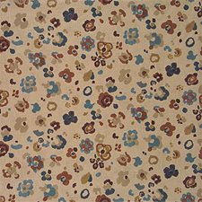 Natural/Blue Print Drapery and Upholstery Fabric by Lee Jofa