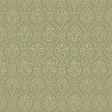 Sage/Gold/White Damask Drapery and Upholstery Fabric by Kravet