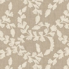 Beige/White Botanical Drapery and Upholstery Fabric by Kravet