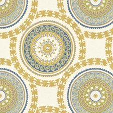 White/Blue/Yellow Ethnic Drapery and Upholstery Fabric by Kravet
