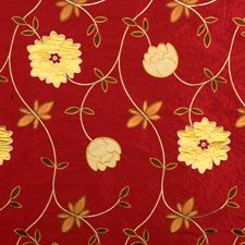 Exotic Red Embroidery Drapery and Upholstery Fabric by Fabricut