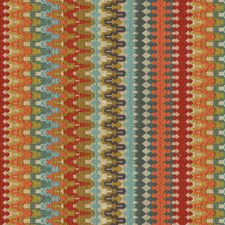 Blue/Orange/Burgundy Ikat Drapery and Upholstery Fabric by Kravet