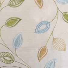 Natural/Aqua Embroidery Drapery and Upholstery Fabric by Duralee