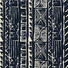 Indigo/White Ethnic Drapery and Upholstery Fabric by Kravet