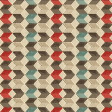 Red/Beige/Blue Geometric Drapery and Upholstery Fabric by Kravet
