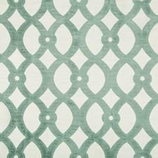White/Light Green Lattice Drapery and Upholstery Fabric by Kravet