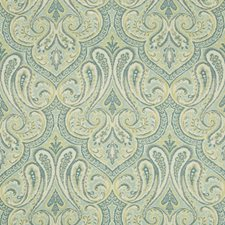 Turquoise/Light Green/White Damask Drapery and Upholstery Fabric by Kravet