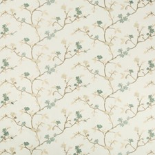 White/Teal/Beige Botanical Drapery and Upholstery Fabric by Kravet