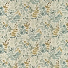 White/Teal/Gold Botanical Drapery and Upholstery Fabric by Kravet