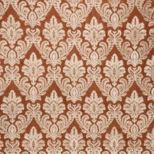 Coral Spice Damask Drapery and Upholstery Fabric by Fabricut