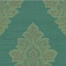Blue/Green Damask Drapery and Upholstery Fabric by Kravet