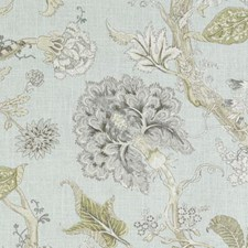 Aqua Floral Large Drapery and Upholstery Fabric by Duralee