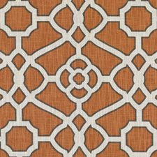 Pumpkin Geometric Drapery and Upholstery Fabric by Duralee