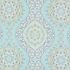 Turquoise/Olive Medallion Drapery and Upholstery Fabric by Duralee