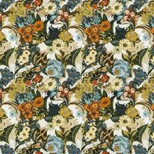 Azure Floral Drapery and Upholstery Fabric by Vervain
