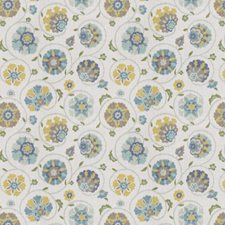 Aquamarine Floral Drapery and Upholstery Fabric by Fabricut