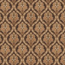 Chocolate Damask Drapery and Upholstery Fabric by Trend