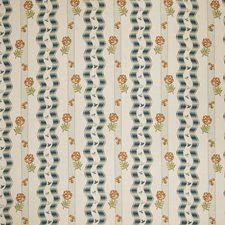 Teal Floral Drapery and Upholstery Fabric by Stroheim