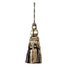 Key Tassel Black/Linen Trim by Duralee