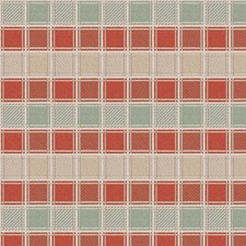 Coral Tusk Check Drapery and Upholstery Fabric by S. Harris