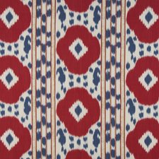 Red/Blue Ikat Drapery and Upholstery Fabric by Brunschwig & Fils