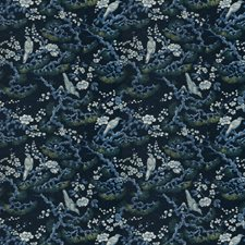 Navy Floral Drapery and Upholstery Fabric by Trend