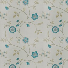 Turquoise Ivory Embroidery Drapery and Upholstery Fabric by Trend
