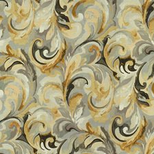 Gold/Silver/Chocolate Botanical Drapery and Upholstery Fabric by Kravet