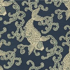 Blue/Light Blue/White Animal Drapery and Upholstery Fabric by Kravet