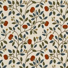 Olive/Mandarin Embroidery Drapery and Upholstery Fabric by G P & J Baker