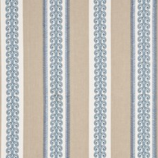 Blue/Sand Embroidery Drapery and Upholstery Fabric by G P & J Baker
