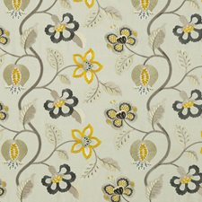 Graphite/Citron Embroidery Drapery and Upholstery Fabric by G P & J Baker