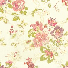 Plum/Moss/Aqua Botanical Drapery and Upholstery Fabric by Lee Jofa