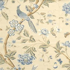 Blue Botanical Drapery and Upholstery Fabric by G P & J Baker