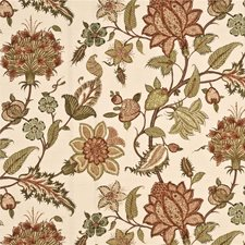 Terracotta/Olive Botanical Drapery and Upholstery Fabric by G P & J Baker