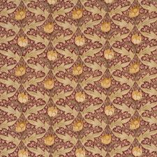 Red/Ochre Print Drapery and Upholstery Fabric by G P & J Baker